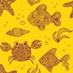 Marine life animals vector seamless pattern — Stock Vector