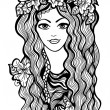 Beautiful black and white girl with flower crown drawing — Stock Vector #29842857