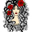 Beautiful woman with red flowers in hair — Stock Vector #29869061