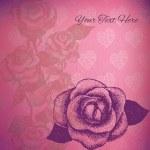 Carta vettoriale con Rose disegnate a mano — Vettoriale Stock