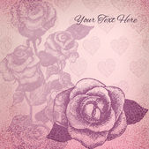 Vintage background with rose drawings in nice delicate colors — Stock vektor
