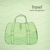 Travel vector background in retro green tints. — Stock Vector