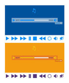 Stylized flat design music player application template and icons — Stock Vector