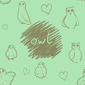Owl seamless pattern — Vecteur