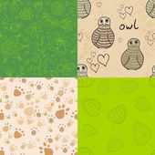 Natural seamless patterns set — Stock Vector