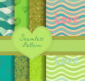 Colorful seamless patterns set — Stock Vector