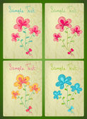 Vector cards with doodle flowers set — Stock Vector