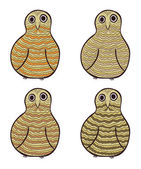 Set of aumusing stylized vector owls — ストックベクタ