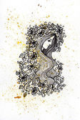 Watercolor and ink girl with flowers illustration — Stock Photo