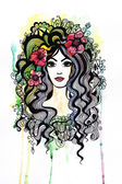 Beautiful stylized girl with flowers — Stock Photo