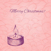 Vector Christmas card with dotted hand drawn candle on patterned — Wektor stockowy