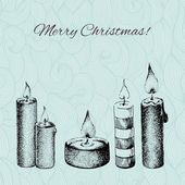 Vector Christmas card with dotted hand drawn candles on patterne — Stock Vector