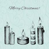 Cartolina di natale vettoriali con mano tratteggiata disegnata candele su patterne — Vettoriale Stock
