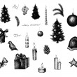Set of vector ink style Christmas elements — Stock Vector