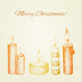 Christmas vector card with hand drawn ink style candles — Stock Vector