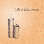 Vintage vector Christmas card with hand drawn candles — Stock Vector