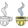 Set of two vector doodle coffee cups, outline and coloful — Stock Vector