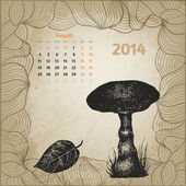 Artistic calendar with ink pen hand drawn mushroom for August 20 — Stock Vector