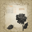 Artistic calendar with ink pen hand drawn rose for August 2014. — Stock Vector #32473637
