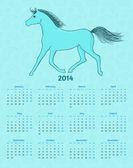 Rok 2014 vektor kalendář s modrý kůň — Stock vektor