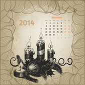 Artistic vintage calendar for December 2014 — Stock Vector