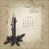 Artistic vintage calendar for December 2014. — Stock Vector