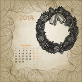 Artistic vintage calendar for December 2014. — Stock Vector