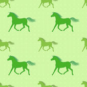 Vector seamless pattern with colorful green horses on polka-dott — Stockvektor