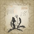Artistic vintage calendar with ink pen hand drawn dandelion for — Stock Vector #32491747