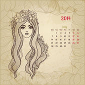 "Artistic vintage calendar for July 2014. ""Woman beauty"" series. — Stock Vector"