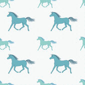 Vector seamless pattern with retro colored horses — Stock Vector