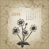 Artistic vintage calendar with ink pen hand drawn flowers for Ju — Stock Vector