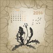 Artistic vintage calendar with ink pen hand drawn dandelion for — Stock Vector