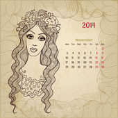 "Artistic vintage calendar for November 2014. ""Woman beauty"" seri — Stock Vector"