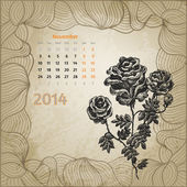 Artistic vintage calendar with ink pen hand drawn roses for Nove — Stock Vector