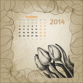 Artistic vintage calendar with ink pen hand drawn tulips for Nov — Stock Vector