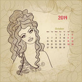"Artistic vintage calendar for October 2014. ""Woman beauty"" serie — Stock Vector"