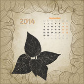 Artistic vintage calendar with ink pen hand drawn leaves for Sep — Stock Vector