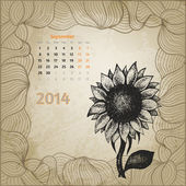Artistic vintage calendar with ink pen hand drawn sunflower for — Stock Vector