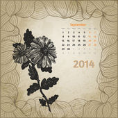 Artistic vintage calendar with ink pen hand drawn flowers for Se — Stock Vector