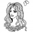 Black and white vector illustration. Beautiful girl with flowers — Stock Vector #33435825