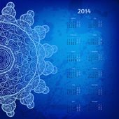 Colorful blue 2014 year vector calendar with round lace ornament — Stock Vector