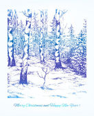 Vintage hand darwn landscape. Vector card for Your Christmas des — Stock Vector