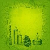 Green tints vector card. Candles and cone. — ストックベクタ