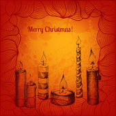 Vector Christmas card with candles collection — Vetorial Stock