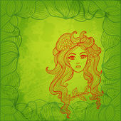 Girl with flowers in hair. Stylized vector illustration — 图库矢量图片
