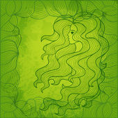 Beautiful girl with long curly hair. Decorative vector backgroun — Stock vektor