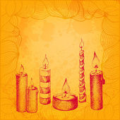 Colorful vector background. Various candles in dotted ink style — Stock Vector