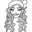 Black and white outline vector illustration. Smiling girl in a C — Stock Vector