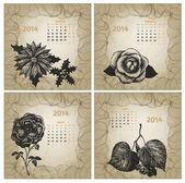 Vintage style 2014 year vector calendar. Hand drawn ink flowers. — ストックベクタ